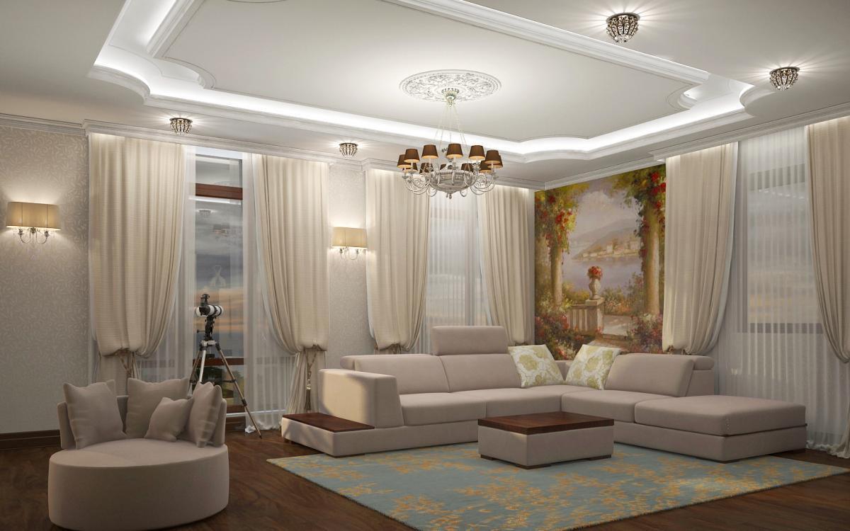фреска на стене в гостиной над диваном