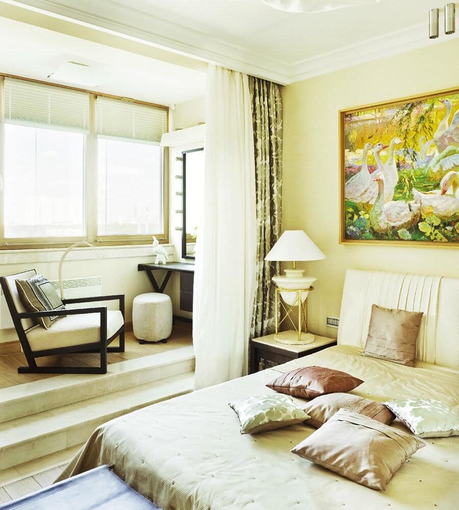 объединение балкона со спальней