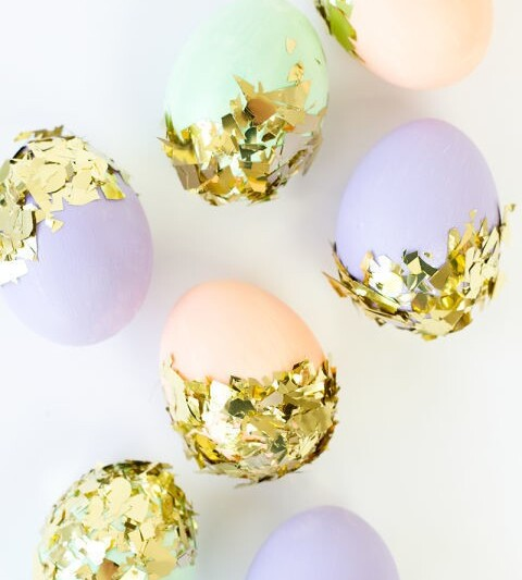 яйца на пасху с конфетти