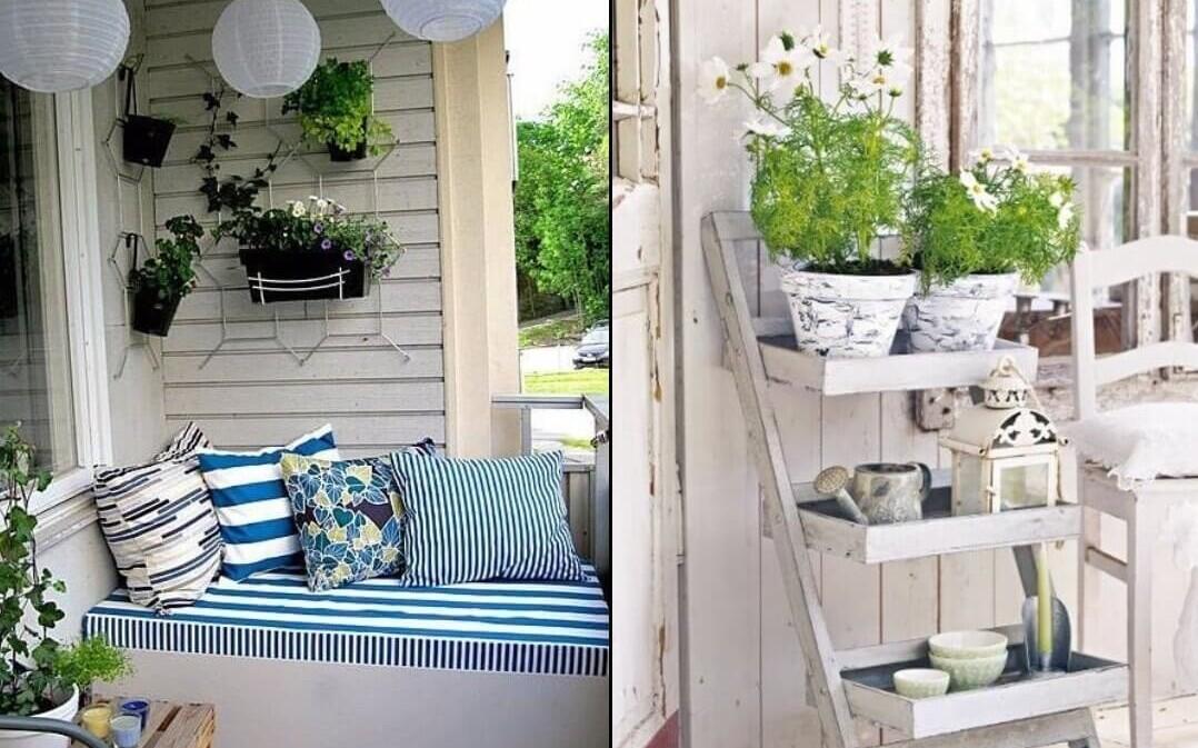 интерьер в стиле прованс с голубыми подушками