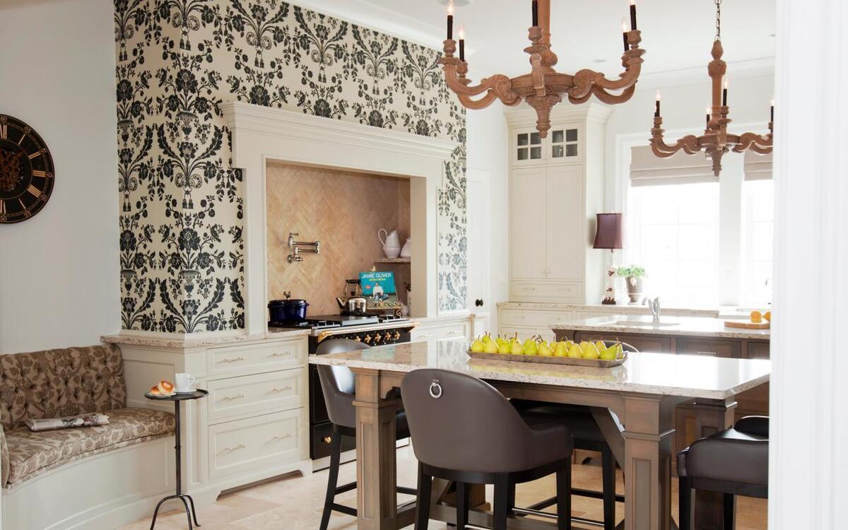 1499240920595c99d88fcad Комбинирование обоев на кухне | Роскошь и уют Фото