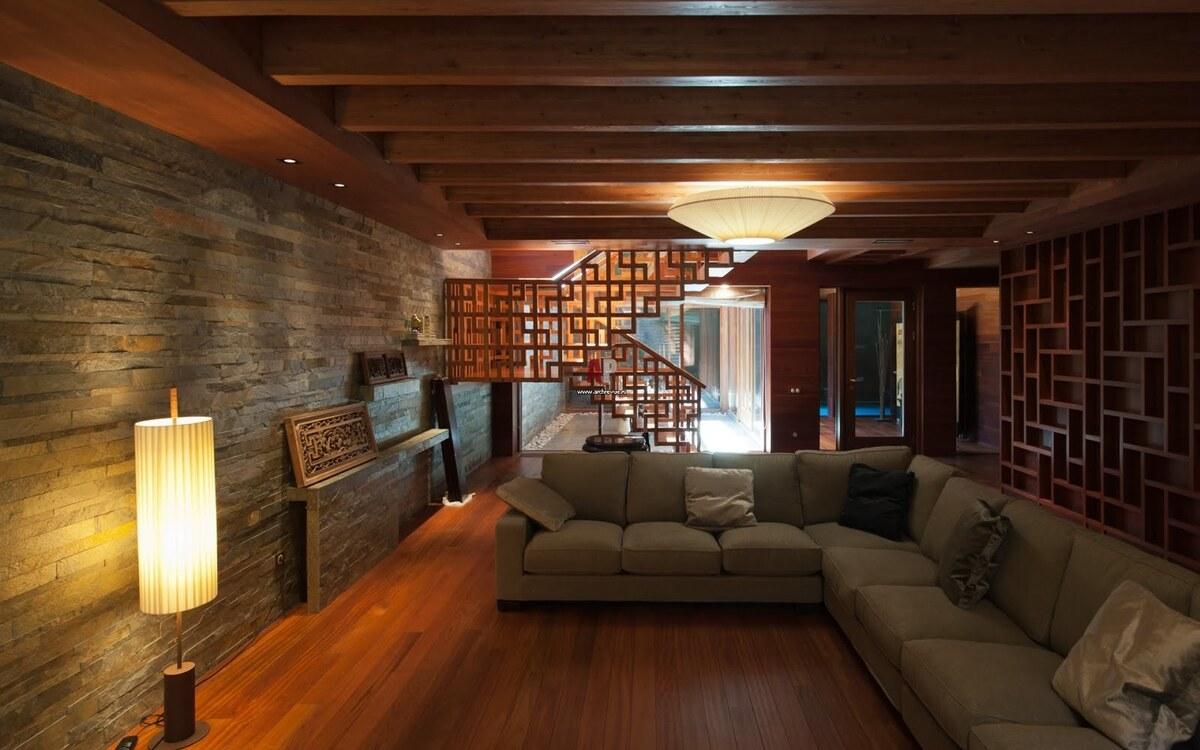интерьер цокольного этажа в частном доме