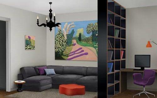 зонирование комнаты на зону отдыха и рабочую