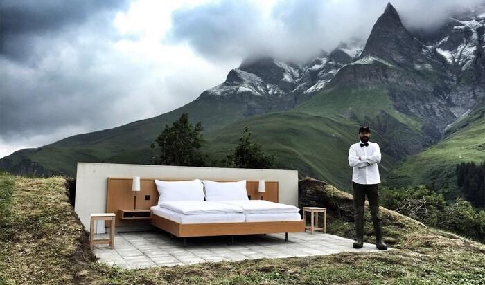 Отель Null Stern - кровать в Альпах под открытым небом