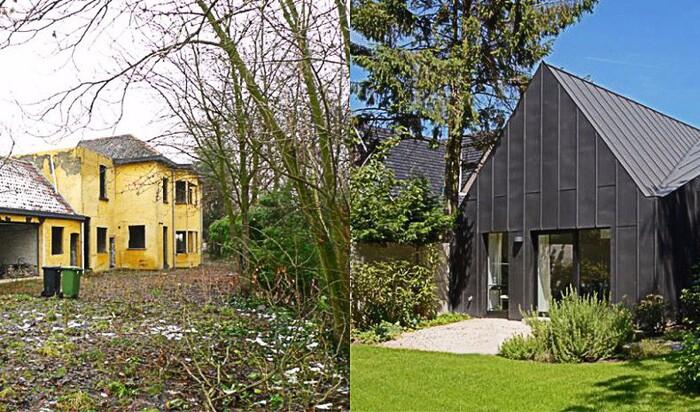 Черный дом, облицованный цинком, где-то в бельгийском лесу