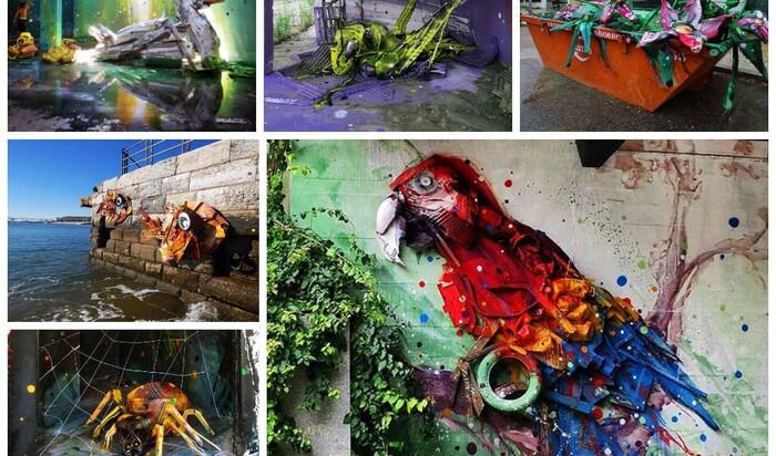 Уличный художник превращает мусор в невероятные скульптуры животных