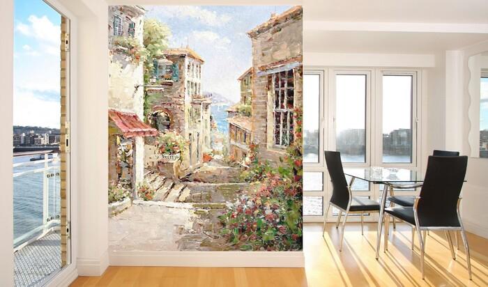 Отделка фресками в интерьере комнаты, кухни, коридора