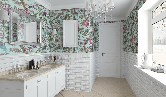 Отделка ванной комнаты обоями: возможно ли это?