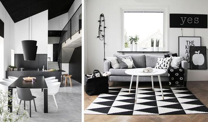 Сочетание белого и черного цвета в интерьере