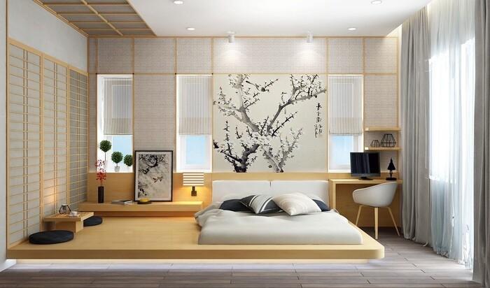 Японский стиль для оборудования спальни