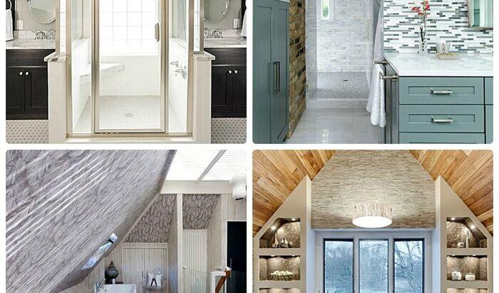 Дизайн ванной комнаты на мансарде