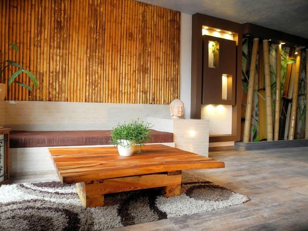 том дизайн с природным камнем фото и бамбуком рабочий